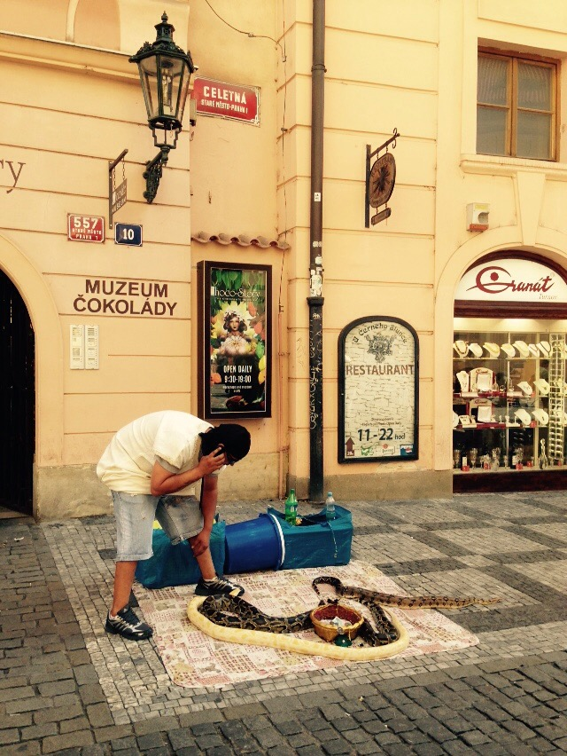 Straßenkünstler Schlangenbeschwörer Prag