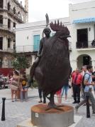 Havanna, Plaza Vieja, Kunst, Statue, Hahn, Frau, Gabel, Pollo, Kuba