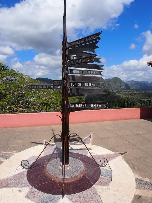 Viñales, Wegweiser, Kuba, Entfernung