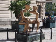 Statue, Klatsch, Reden, Gold, Bronze, Havanna, Kuba, Plaza San Francisco, Unterhaltung, Konversation