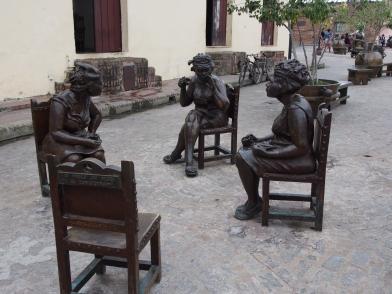 Bronze, Statuen, Figuren, Kaffeeklatsch, Camagüey, Kuba
