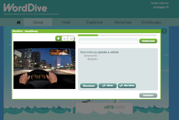 WordDive, Erfahrung, Sprache, lernen, Lehrkurs, Lernkurs, Sprachkurs, online, Sprachprogramm