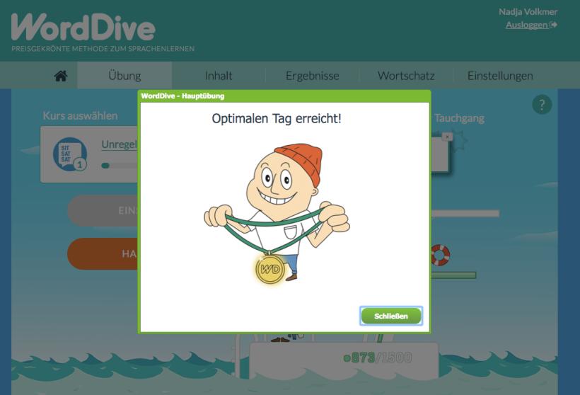 WordDive, Tagesziel, Lernmethode, Erfahrung, Englisch, Online, Sprachkurs