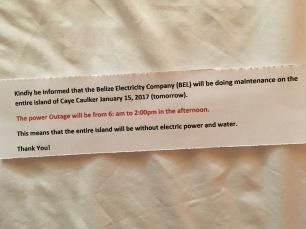 Infrastruktur, Belize, Caye Caulker, Strom, Wasser, Versorgung, Ankündigung