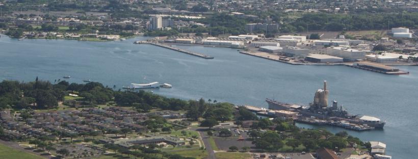 USS Arizona, Pearl Harbor, Luftaufnahme